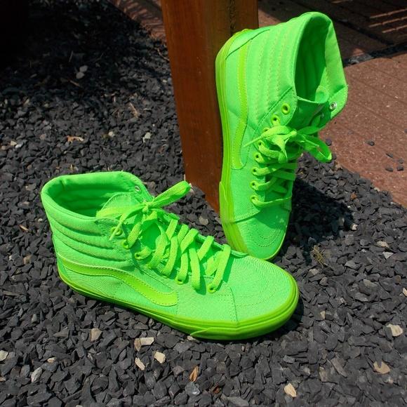 Vans Neon Green Hi Top Sneakers Mens 8